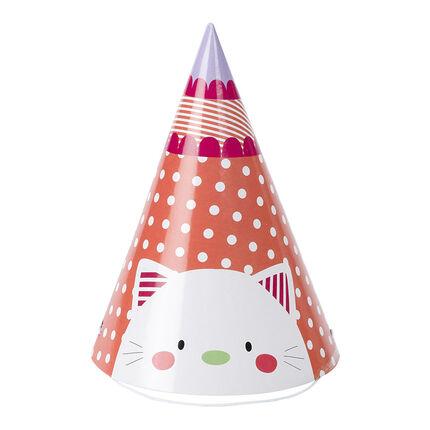 Lot de 10 chapeaux pointus d'anniversaire en carton motif chat