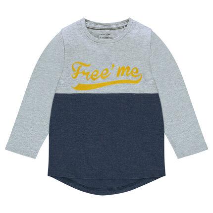 Δίχρωμη μακρυμάνικη μπλούζα με φαντεζί στάμπα
