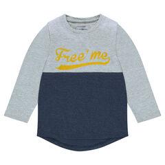 Παιδικά - Δίχρωμη μακρυμάνικη μπλούζα με φαντεζί στάμπα
