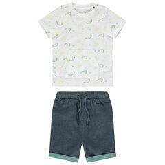 Σύνολο μπλούζα με τσέπη και μελανζέ βερμούδα