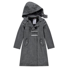 Junior - Μακρύ παλτό ψαροκόκαλο με αποσπώμενη κουκούλα