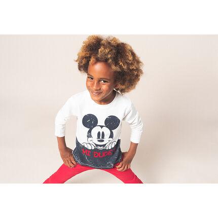 Μακρυμάνικη ζέρσεϊ μπλούζα με κρακελέ στάμπα Mickey της ©Disney