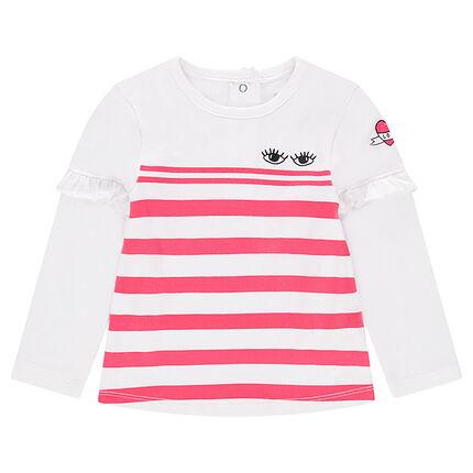 Μακρυμάνικη μπλούζα από ζέρσεϊ με ρίγες και βολάν στα μανίκια