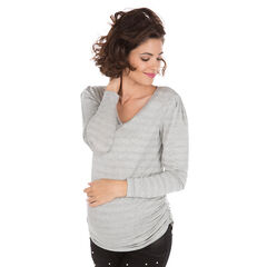 Μακρυμάνικη μπλούζα με ρίγες σε ζακάρ μοτίβο