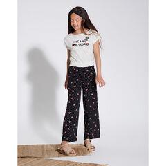 Παιδικά - Άνετο παντελόνι από βουάλ βισκόζη με πουά μοτίβο και καρδούλες σε όλη την επιφάνεια