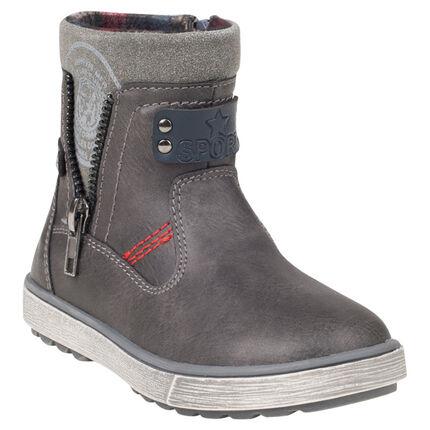 1/2 bottes aspect cuir bi-matière avec zips