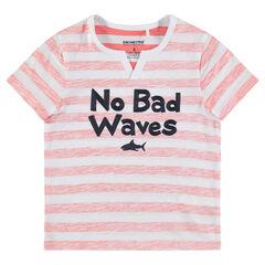 Κοντομάνικη ζέρσεϊ μπλούζα με κεντημένο μήνυμα