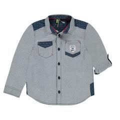 Μακρυμάνικο πουκάμισο με διακριτικό εμπριμέ μοτίβο και αντιθέσεις