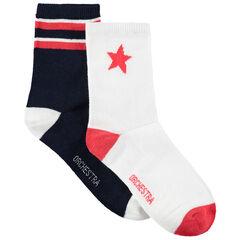 Σετ 2 ζευγάρια κάλτσες με ζακάρ λωρίδες και αστέρι
