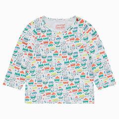 Μακρυμάνικη μπλούζα ζέρσεϊ με εμπριμέ μοτίβο ζωάκια