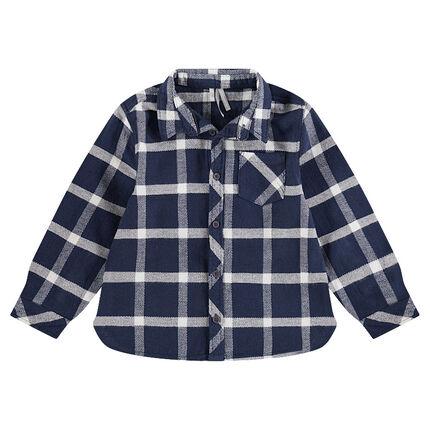 Παιδικά - Μακρυμάνικο πουκάμισο από φανέλα καρό με τσέπη