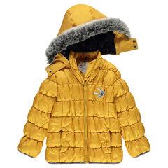 Μπουφάν φουσκωτό με αφαιρούμενη κουκούλα και μπάλωμα πουλάκι