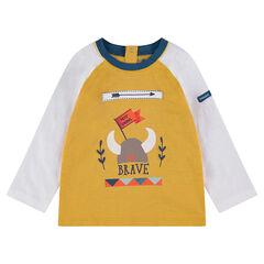 Tee-shirt manches longues bicolore avec print casque de viking