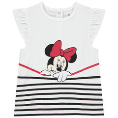 Κοντομάνικη μπλούζα με βολάν και στάμπα τη Minnie της Disney