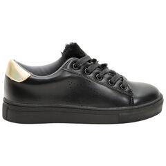 Χαμηλά αθλητικά παπούτσια από συνθετικό δέρμα με χρυσαφί φάσες πίσω και sherpa