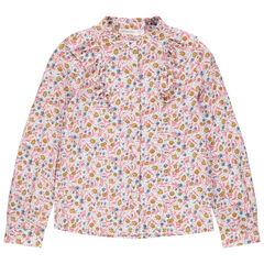 Μακρυμάνικο πουκάμισο με εμπριμέ φλοράλ μοτίβο και φαντεζί γιακά
