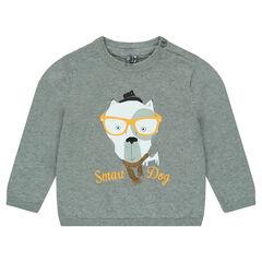 Πλεκτό μονόχρωμο πουλόβερ με τυπωμένο ζωάκι