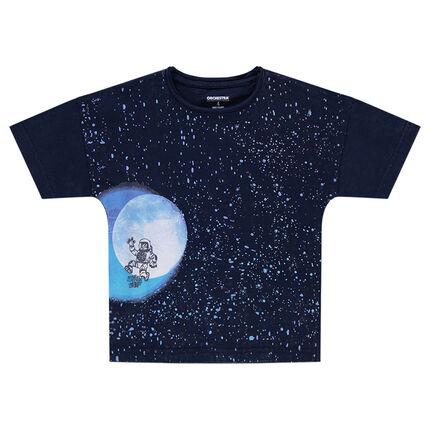 Tee-shirt manches courtes forme boîte avec print galaxie