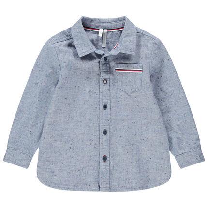 Μακρυμάνικο πουκάμισο από μπουκλέ βαμβακερό ύφασμα με εξωτερική τσέπη