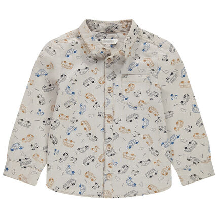 Μακρυμάνικο πουκάμισο με εμπριμέ μοτίβο αυτοκίνητα