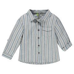 Μακρυμάνικο ριγέ πουκάμισο με τσέπη