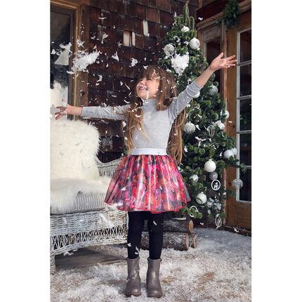 Φούστα από οργάντζα με φλοράλ μοτίβο και γυαλιστερή φόδρα