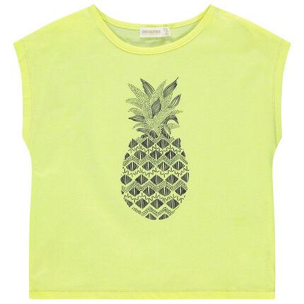 Κοντομάνικη μπλούζα σε τετράγωνη γραμμή με φαντεζί τύπωμα