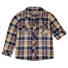 Καρό πουκάμισο με μανίκια που γυρίζουν