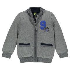 Gilet en tricot avec poches et chiffre brodé