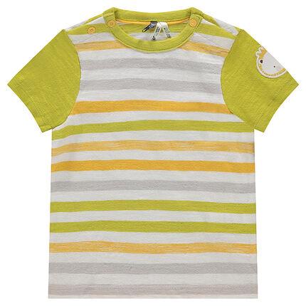 Ριγέ κοντομάνικη μπλούζα από ζέρσεϊ με απλικέ μοτίβο λιοντάρι