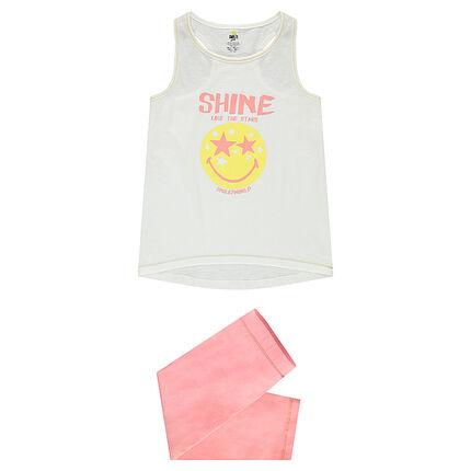 Ζέρσεϊ πιτζάμα με αμάνικη μπλούζα και στάμπα ©Smiley