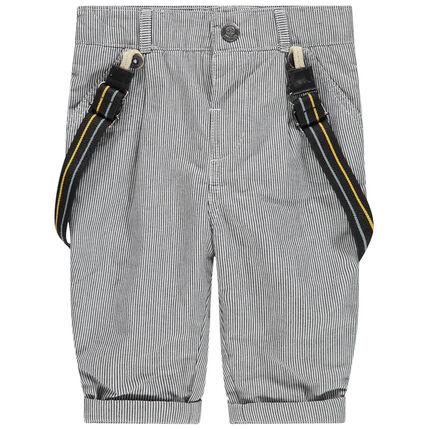 Παντελόνι με λεπτές ρίγες και αφαιρούμενες τιράντες με επένδυση ζέρσεϊ