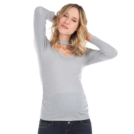 Μακρυμάνικη ζέρσεϊ μπλούζα με φαντεζί λαιμό