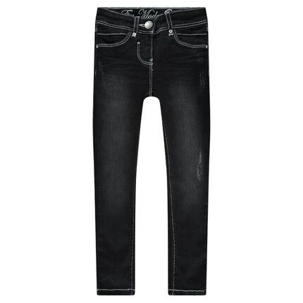 Jeans slim skinny avec poches brodées