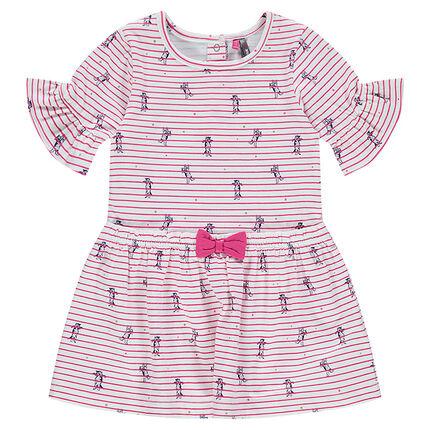 Ριγέ φόρεμα με βολάν στα μανίκια και μικρό ραμμένο φιόγκο