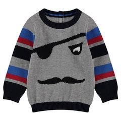 Πλεκτό πουλόβερ με μοτίβο πειρατή σε ζακάρ και λωρίδες σε αντίθεση