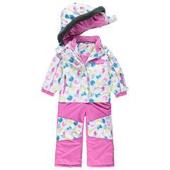 Ολόσωμη φόρμα του σκι με όψη 2 σε 1 και πολύχρωμα πουά