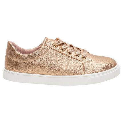 Χρυσαφί χαμηλά αθλητικά παπούτσια με κορδόνια