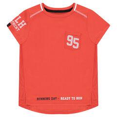 Tee-shirt manches courtes en polyester avec inscriptions printées