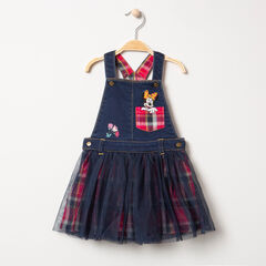 Φόρεμα-σαλοπέτα από τζιν και τούλι με καρό φανελένια επένδυση και μοτίβο Μίνι της Disney