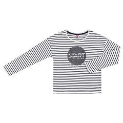 Παιδικά - Μακρυμάνικη μπλούζα από ζέρσεϊ με ρίγες και στάμπα με γκλίτερ