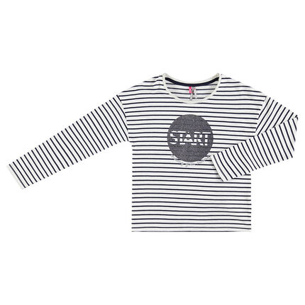 3ec56314d325 Παιδικά - Μακρυμάνικη μπλούζα από ζέρσεϊ με ρίγες και στάμπα με ...