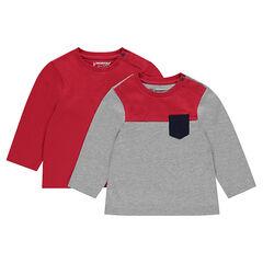 Σετ με 2 μακρυμάνικες μπλούζες με τσέπη