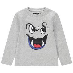 Μακρυμάνικη μπλούζα ζέρσεϊ με διακοσμητική στάμπα