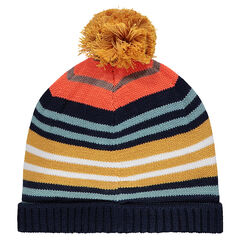 Bonnet en tricot à rayures colorées en jacquard et pompon