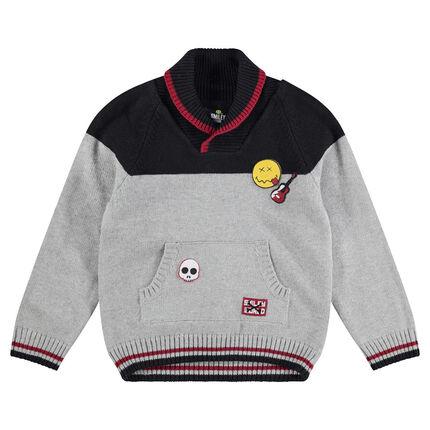Πλεκτό πουλόβερ με σήματα και ζακάρ μοτίβο ©Smiley