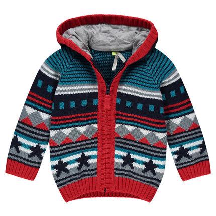 Gilet en tricot à capuche motif jacquard