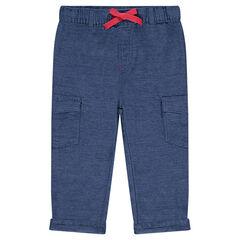 Βαμβακερό παντελόνι με λάστιχο στη μέση και τσέπες