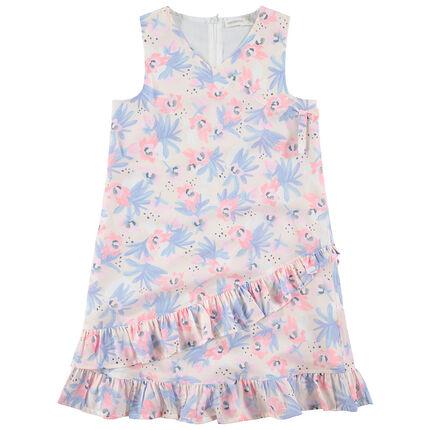 Παιδικά - Αμάνικο φόρεμα με λουλούδια και βολάν