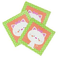 Σετ με 20 χαρτοπετσέτες γενεθλίων με σχέδιο γάτα